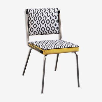 Tube Chair retro black and white velvet patterns yellow
