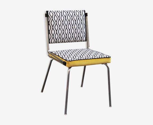 Tube Chair retro black and white velvet patterns yellow