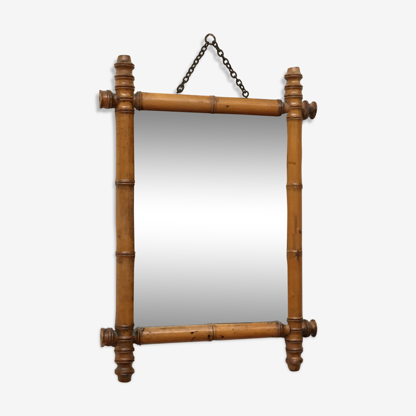 Miroir avec cadre bambou vintage 51x36cm