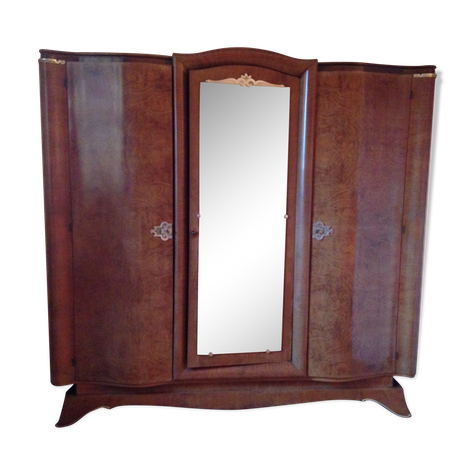 Armoire 3 Portes Dont Une Miroir Ronce De Noyer Annees 50 Selency