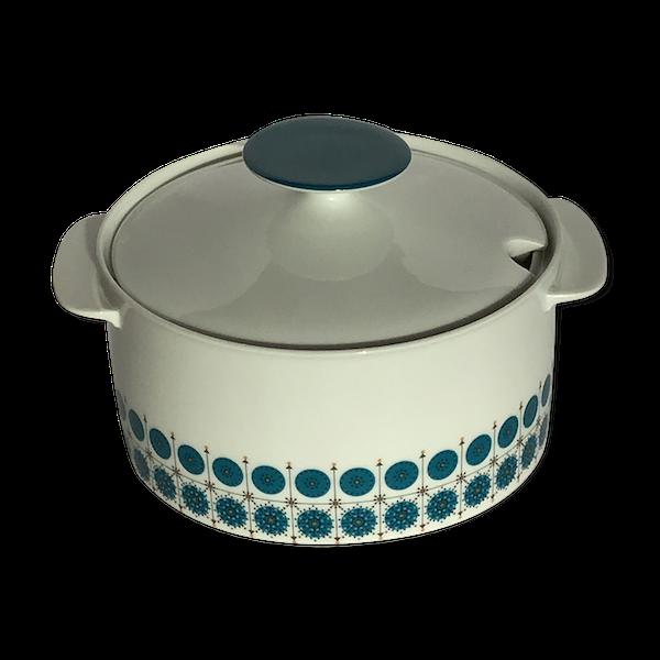 Soupière porcelaine bleu canard 70's