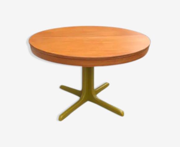 Table ronde extensible avec rallonge et pied central - bois ...