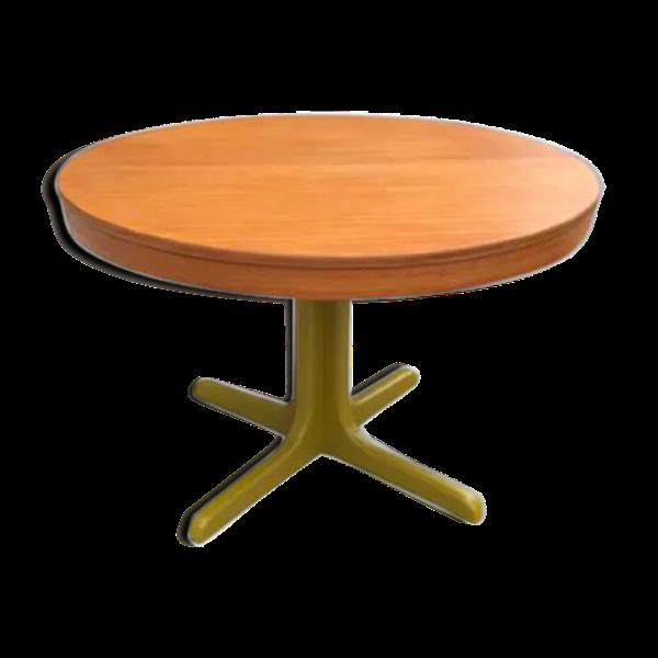 Table ronde extensible avec rallonge et pied central