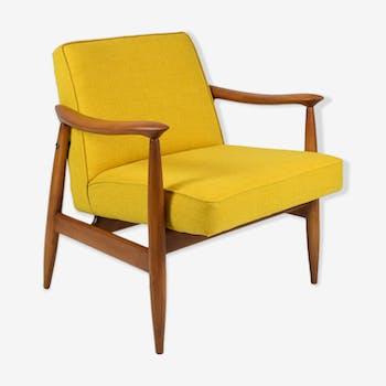 Fauteuil vintage, années 1960, tissu jaune entièrement restauré