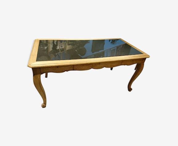 Bureau style louis xv chêne massif brut et noir mat bois matériau