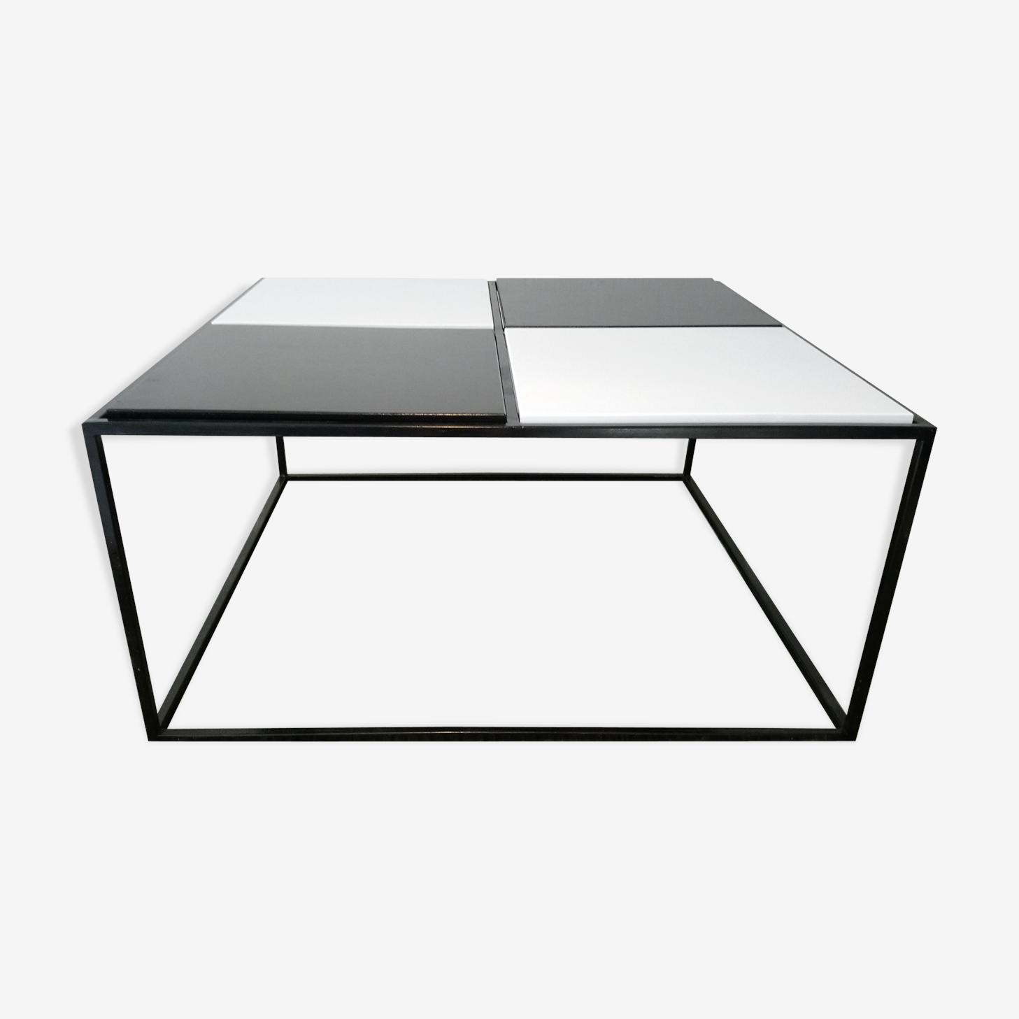 Table basse carrée à damier des années 80