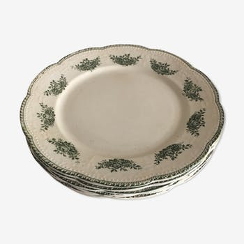 """Lot of 6 porcelain dessert plates Badonviller """"Richelieu"""""""