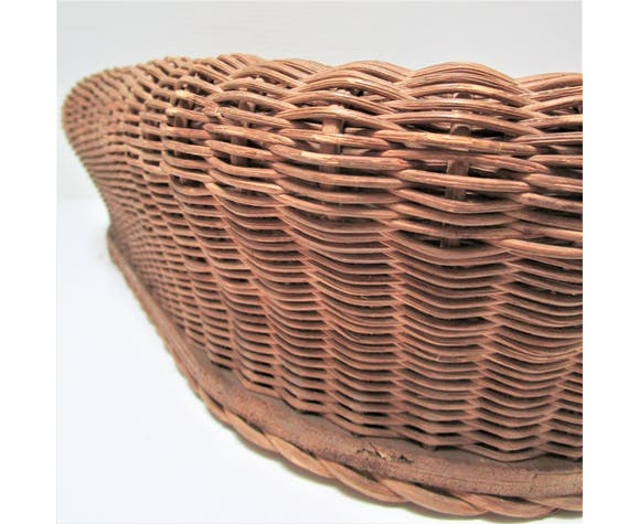 Rattan and wood planter50/60s
