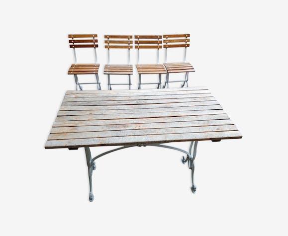 Salon de jardin en fonte d\'aluminium - métal - blanc - classique ...