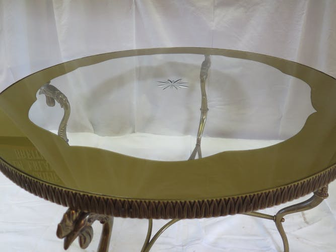 Coffee table in glass and bronze