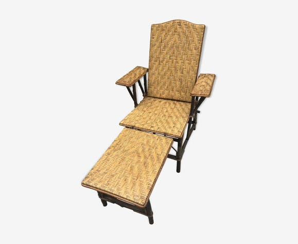 Chaise longue rotin et osier