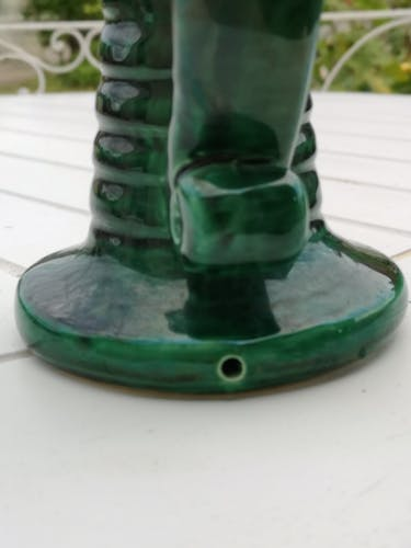 Bougeoir céramique verte vintage années 50