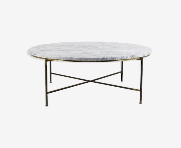 Table Basse Ronde Plateau Marbre Par Paul Mccobb Années 1950