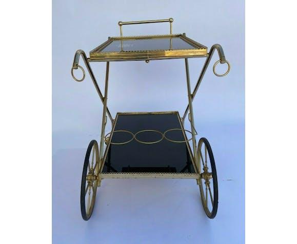 Table roulante bar vintage 1960 verre fumé métal doré