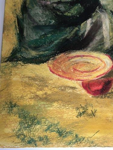 Femme Sahel - Pastel sur papier Arches