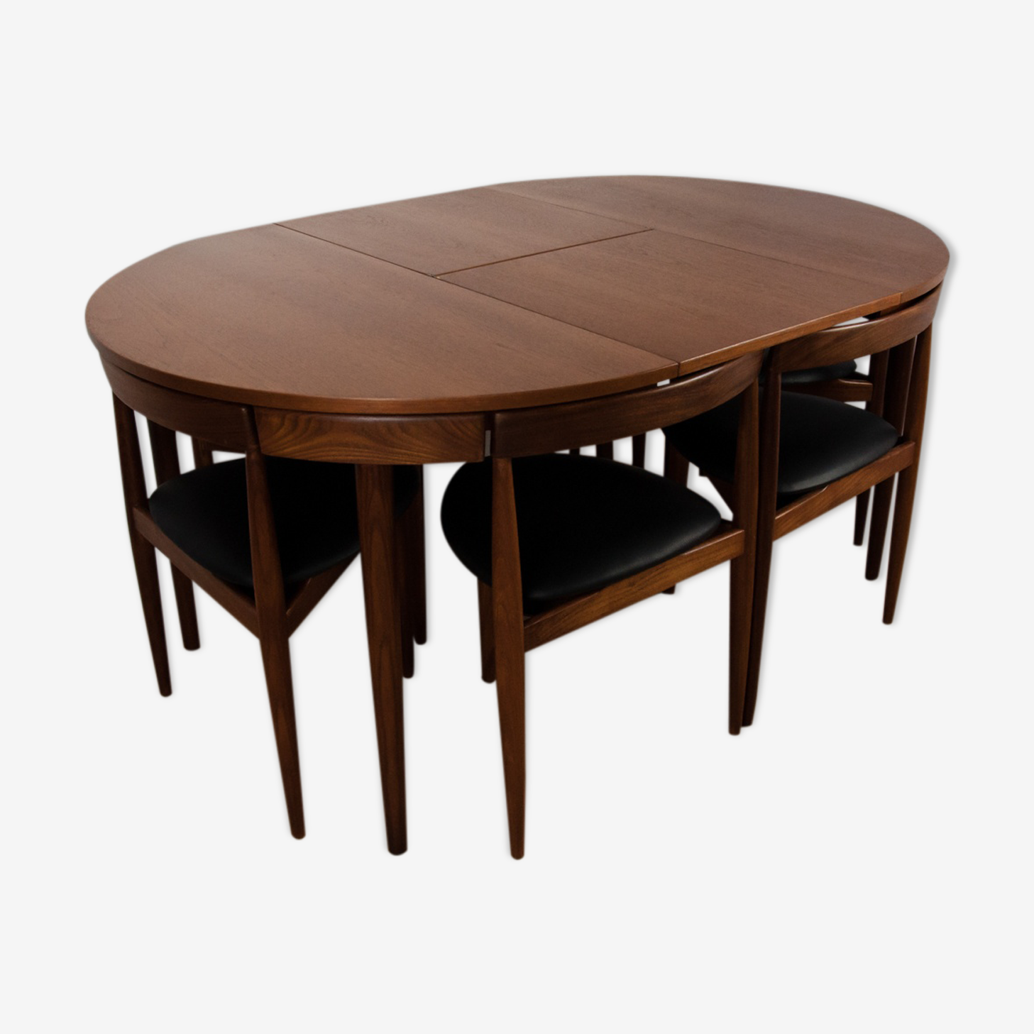 Extendable teak dining table & 6 chairs by H.Olsen for Frem Røjle, 1950