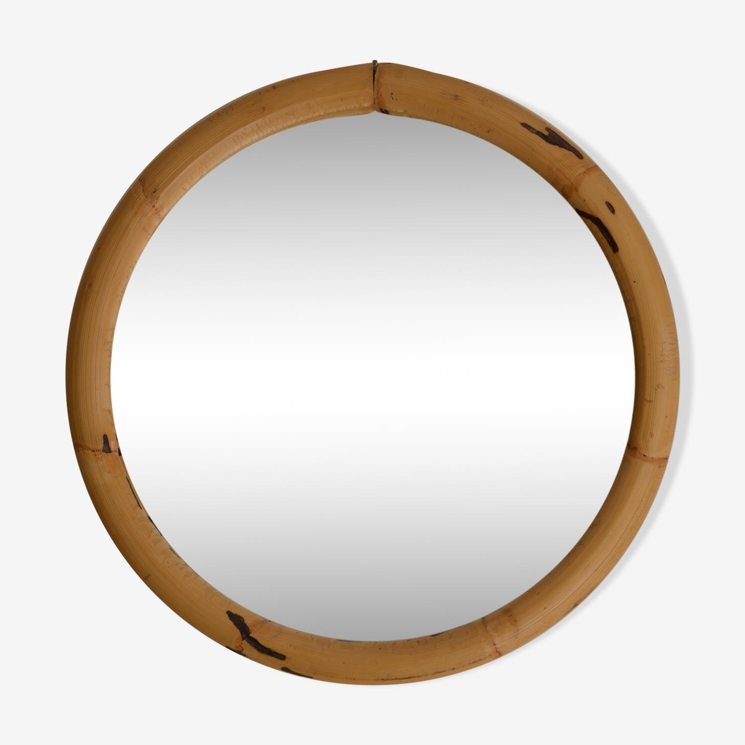 Miroir rotin années 70 44x44cm