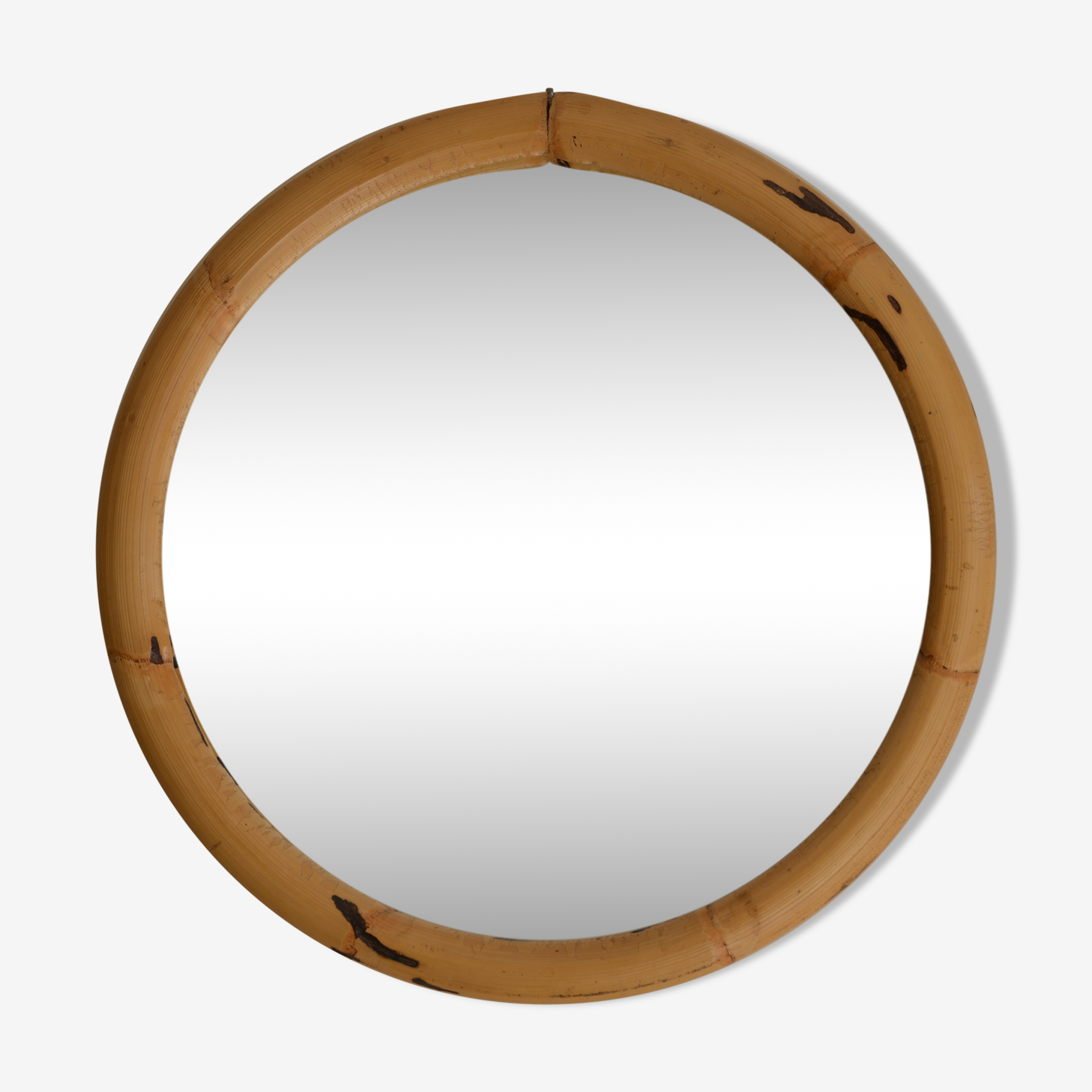 Mirror in rattan of the 70s 44x44cm