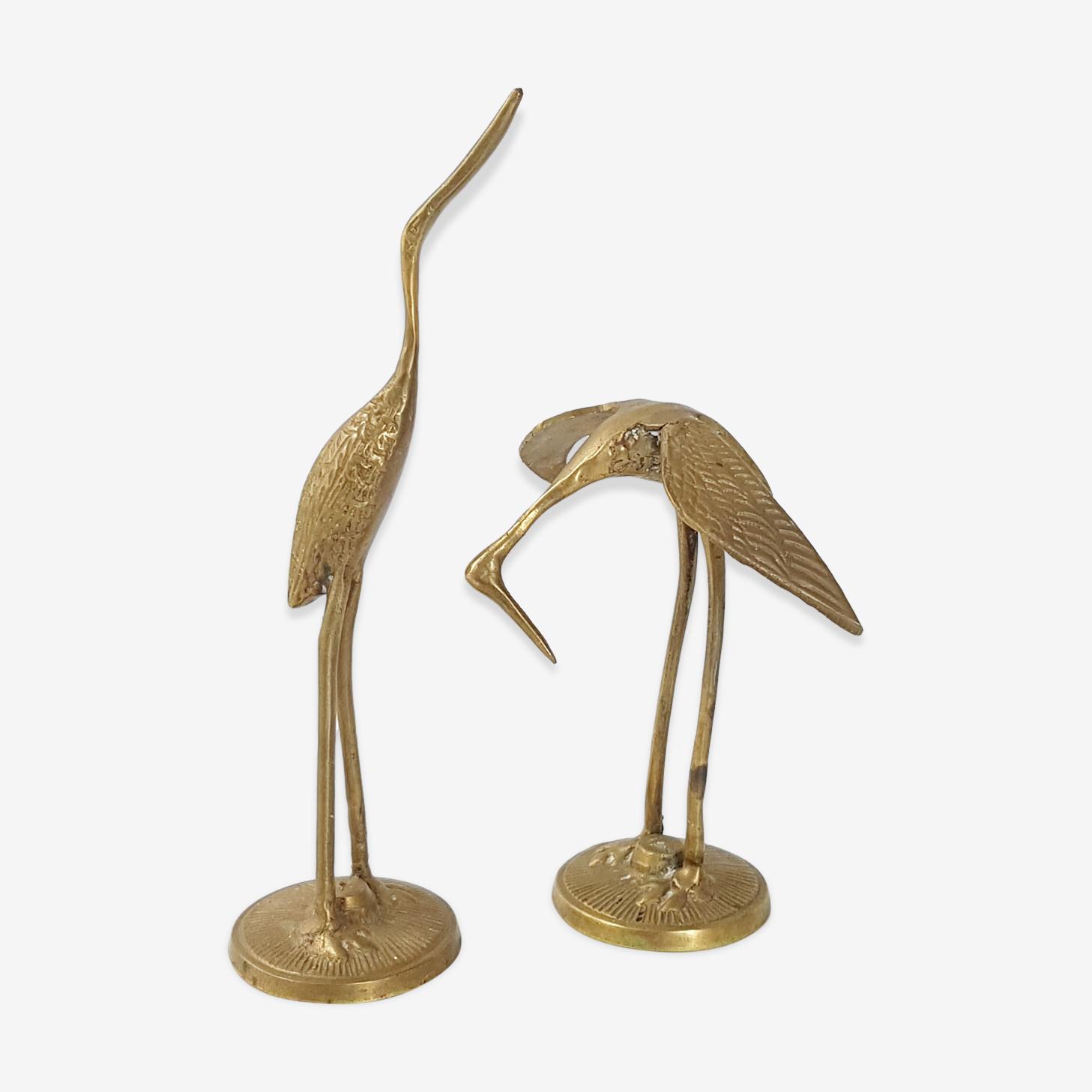 Pair of herons in golden brass 1970