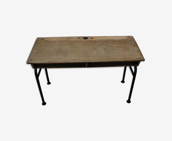 Bureau décolier en bois et piétement fer bois matériau marron