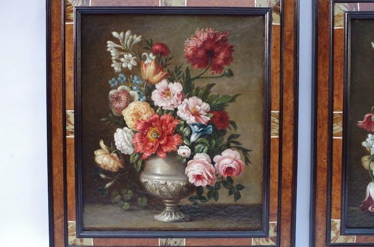 Paire d'huiles sur toile « Bouquets de fleurs », XIXème siècle