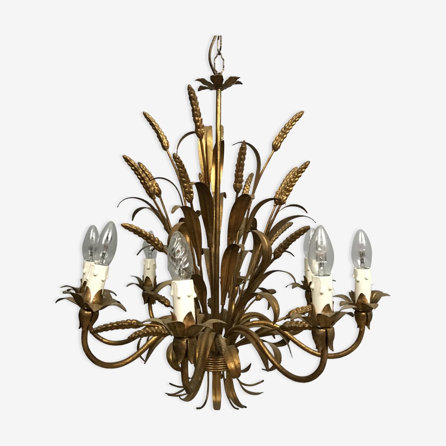 Lustre epis de ble 1960 8 branches en métal doré