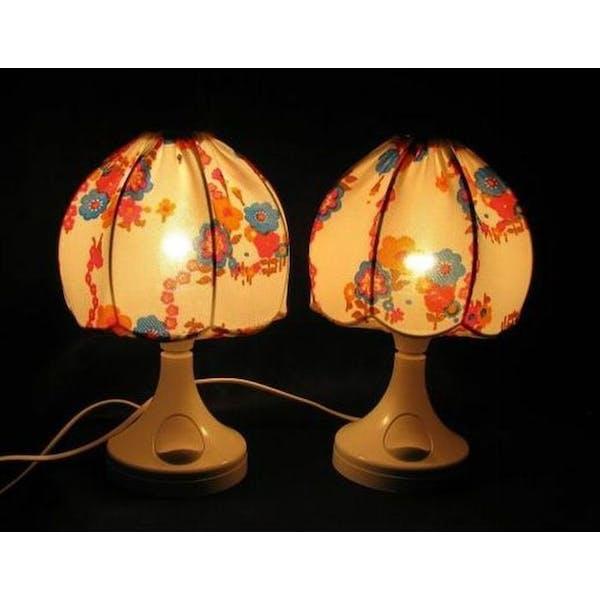 2 lampes de chevet Bonalux 1960 70 motif fleurs | Selency