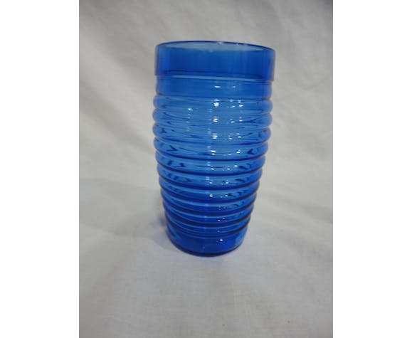 Set of 6 vintage blue glass glasses
