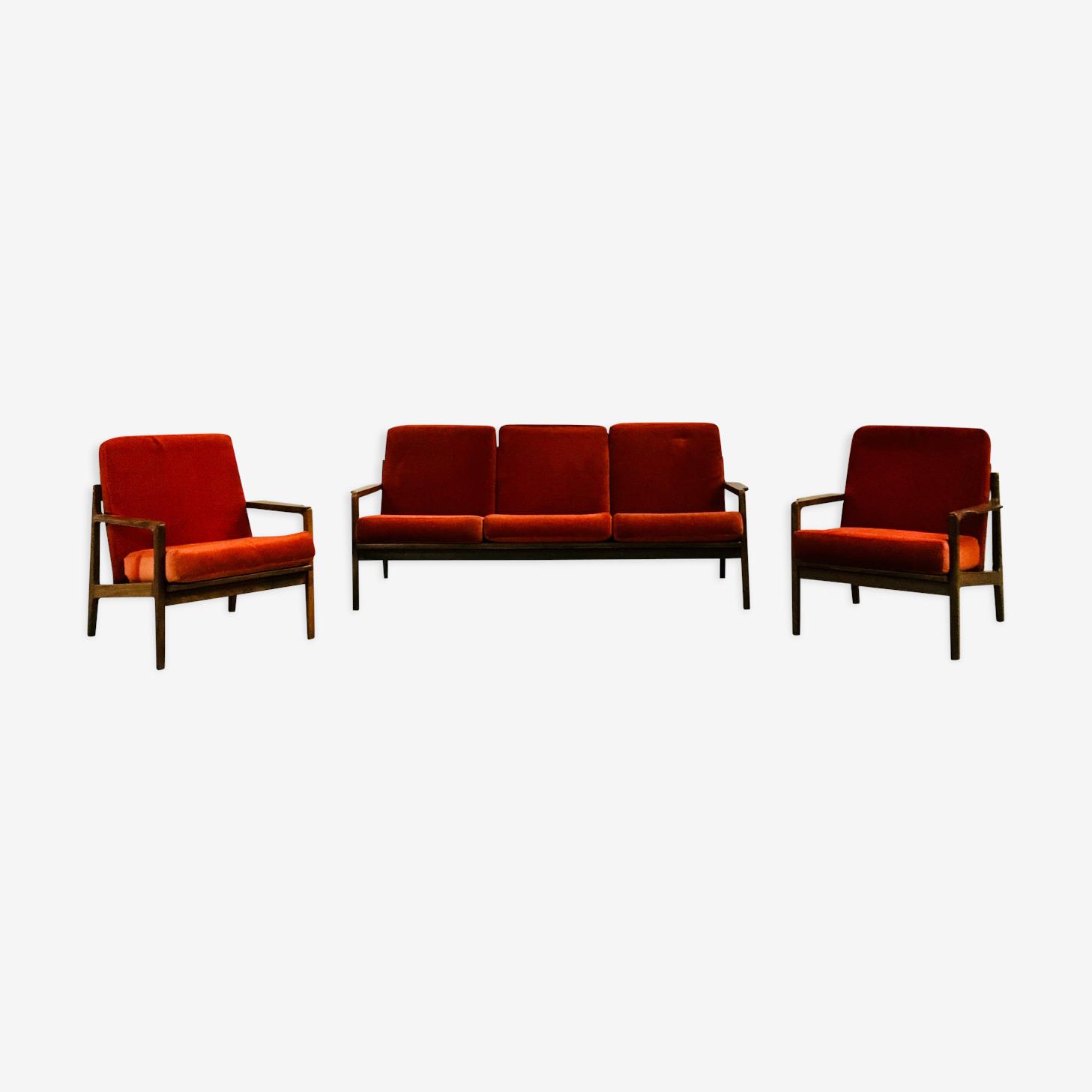 Salon scandinave en teck - Banquette et deux fauteuils