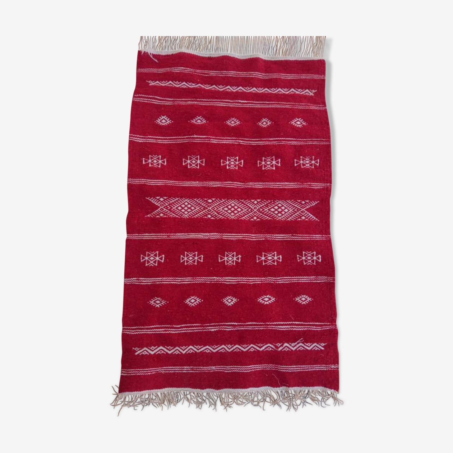 Tapis rouge fait main en pure laine 60x95cm