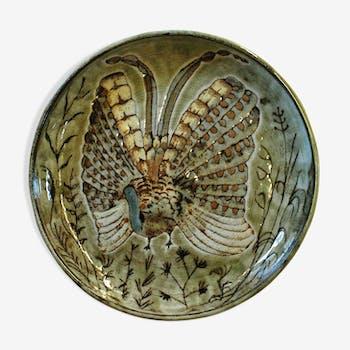 Plat décoratif de Robert Pérot atelier du Vieux Moulin à Vallauris