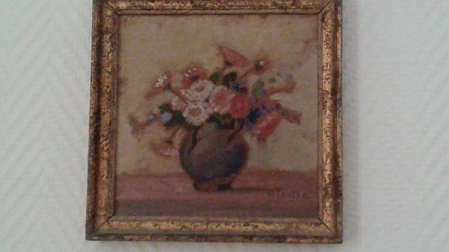 Tableau fleurs peinture huile signée