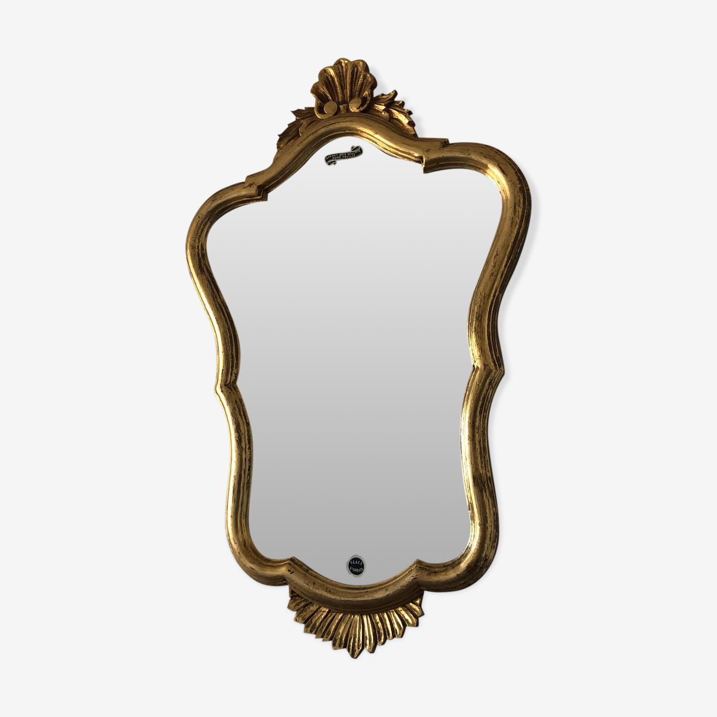 Miroir rocailles Bois doré 70x45cm vintage 1950