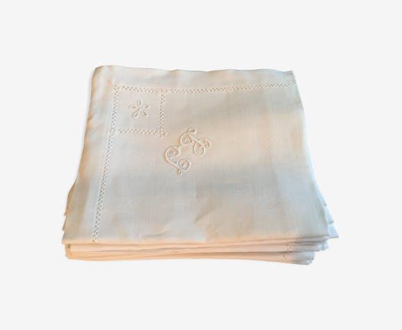 Lot de serviettes en lin monogramme LT