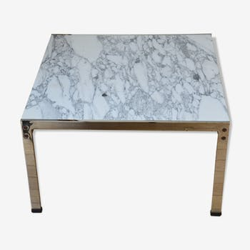 Table Low Marble Chrome Metal Years 70