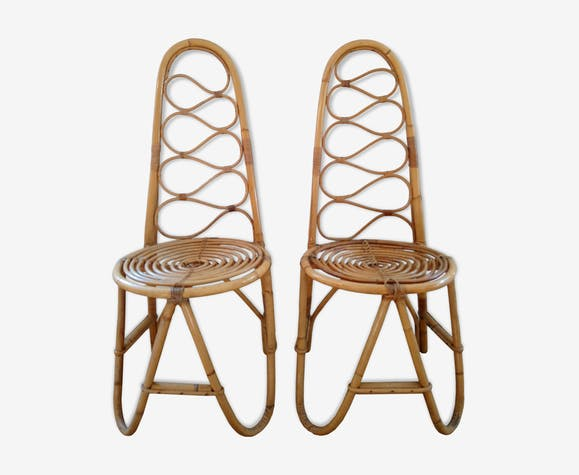 Pair of bamboo chairs and rattan years 70