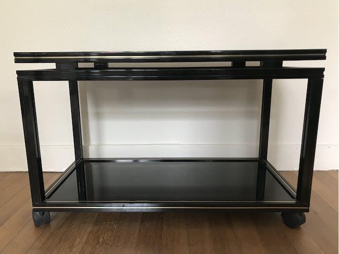 Table d'appoint conçue par Pierre Vandel 1970 aluminium laqué noir