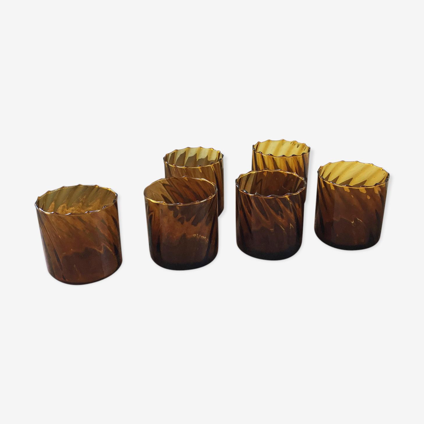 Set of amber glasses