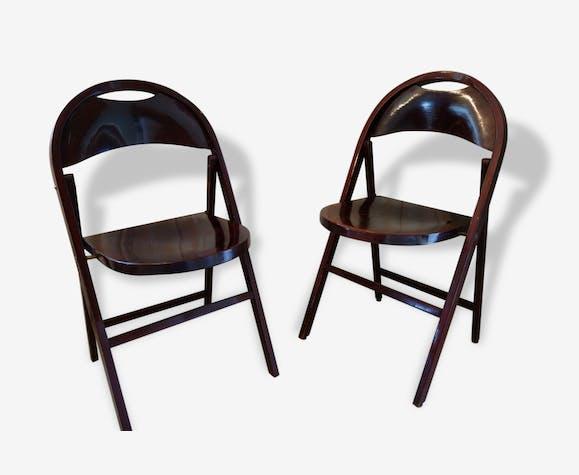 Paire de chaises d'appoint THONET pliante en bois bois