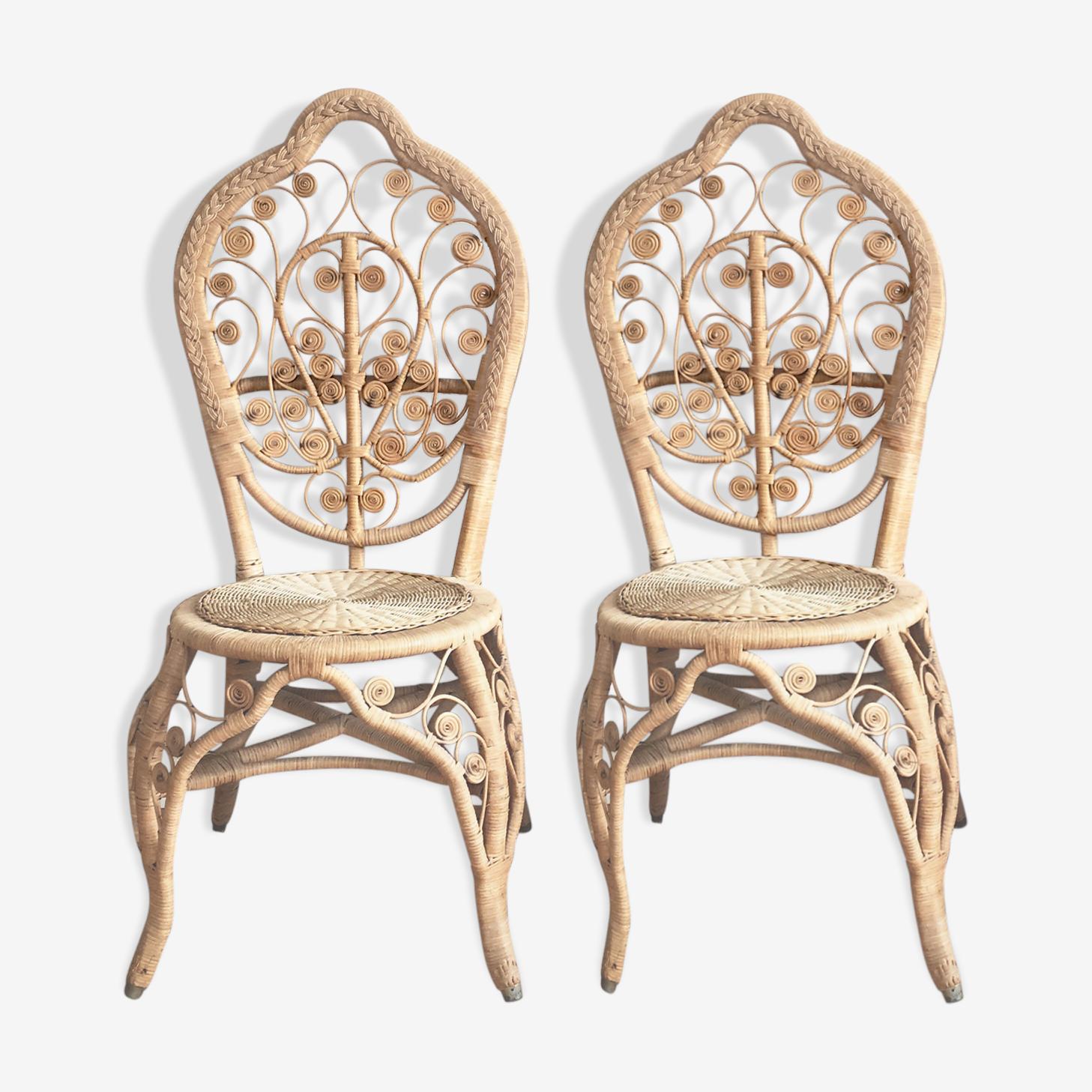 Paire de chaises en rotin peacock 1970