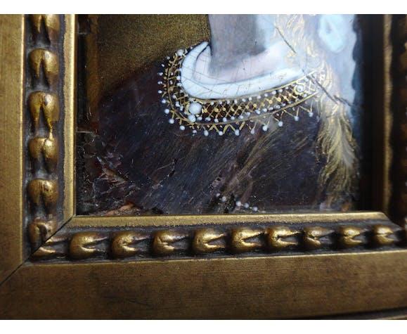 Portrait encadré peinture à l'huile sur cuivre miniature fille émaux XIXème