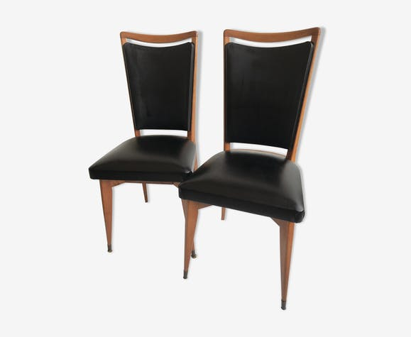 Paire de chaises en bois et skaï