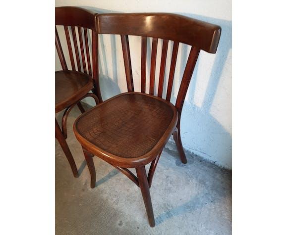 """Piare de chaises bistrot Fischel """"assises crocodile"""""""
