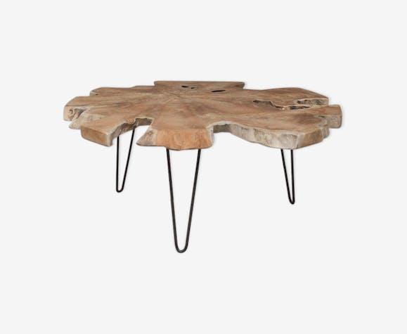 usine authentique d745c a6ffe Coffee table live edge teak - teak - wooden - vintage - nbY3gaP