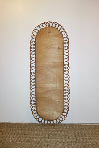 Miroir en rotin des années 60 - 125x47cm
