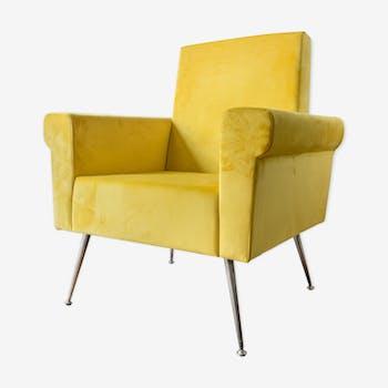 Fauteuil italien 1950 en velours jaune