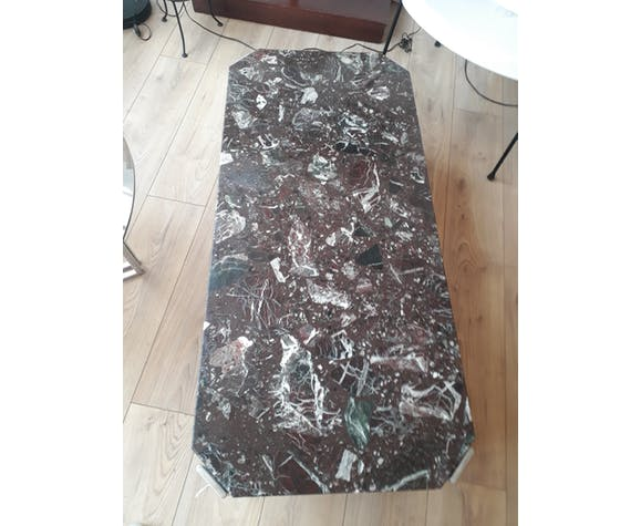 Table basse chrome et marbre