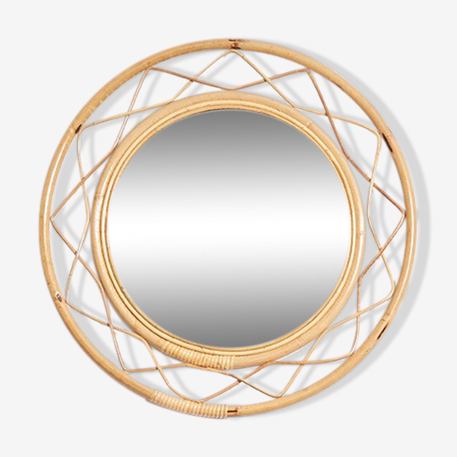 Mirror round rattan 1950 - 63,5x63,5cm