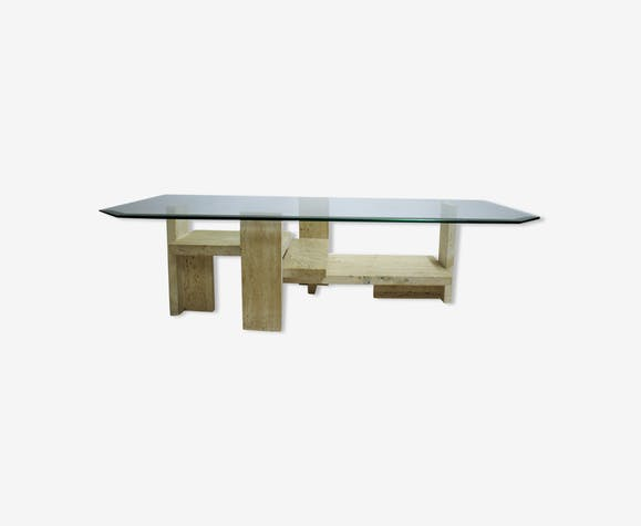 Table basse vintage par Willy Ballez, des années 1970
