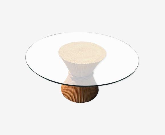 """Table de salle a manger rotin et verre """"mac guire"""""""